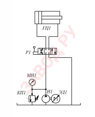 Схема гидропривода с частотным регулированием показана на рисунке.