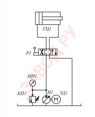 Насос Н1 с регулируемым рабочим объемом подает жидкость к распределителю Р1, который направляет ее в одну из полостей гидроцилиндра ГЦ1. Клапан КП1 защищает гидросистему от перегрузок.